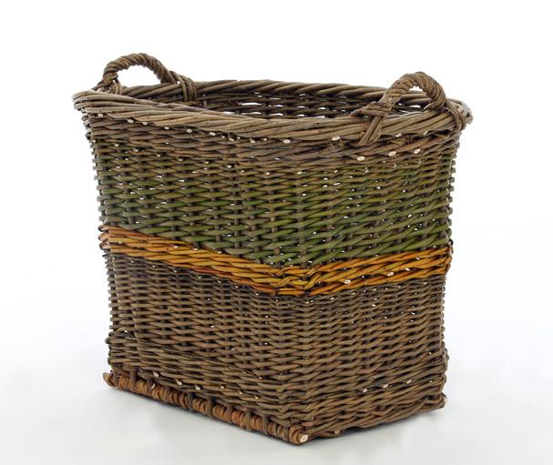 Straight square log basket